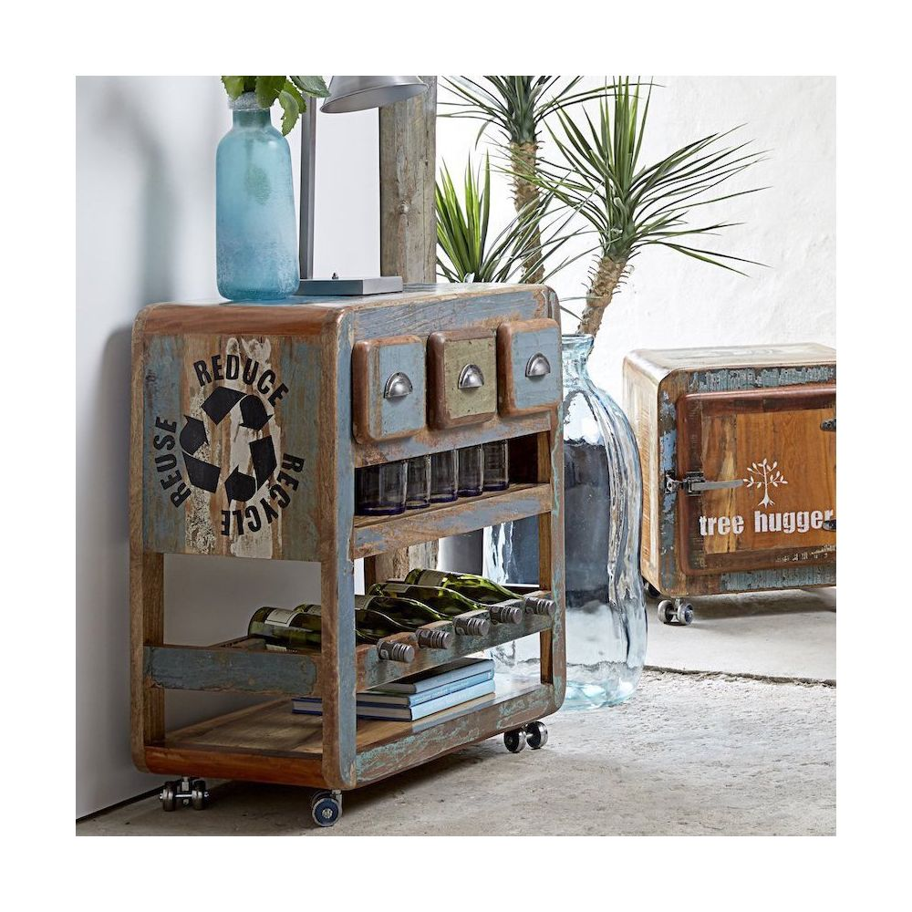 Wooden Min Bar Modern Cocktail Cabinet Reclaimed Wood