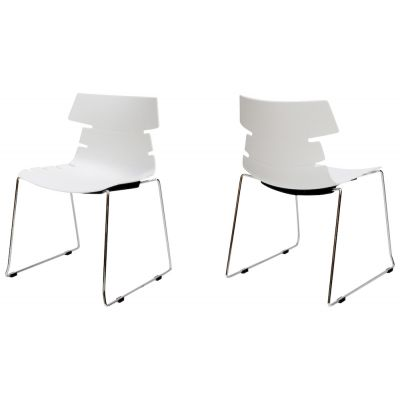 stackable white dining chairs