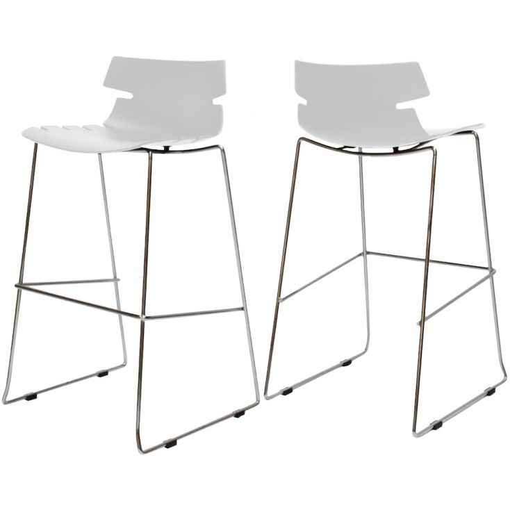 chrome and white bar stools