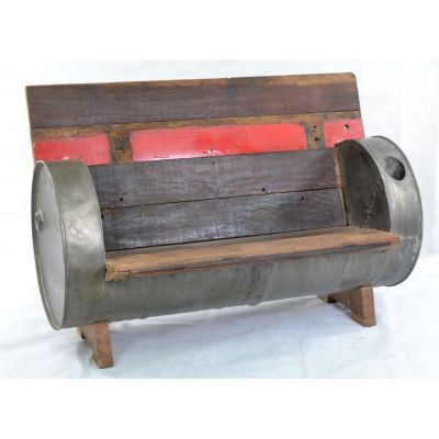 Oil Drum Reclaimed Garden Bench Outdoor Furniture Smithers of Stamford £ 699.00 Store UK, US, EU