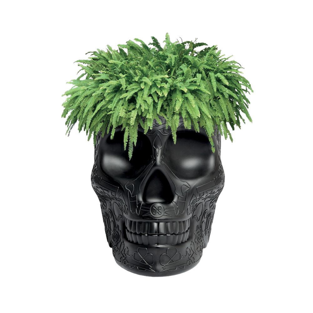 Retro Style With Skull:  Skull Head Garden Planter And Champagne Bucket