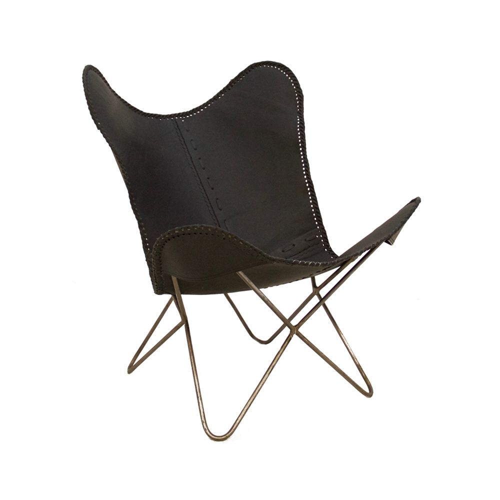 Vintage Tan Black Leather Cowhide Butterfly Lounge Chair