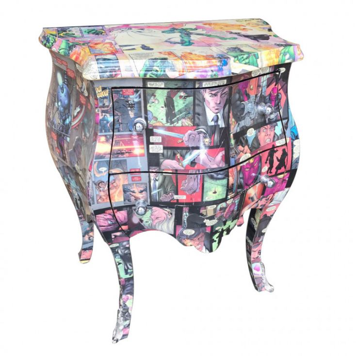 Decoupage comic book chest bombe narrow furniture - Mobili decoupage ...