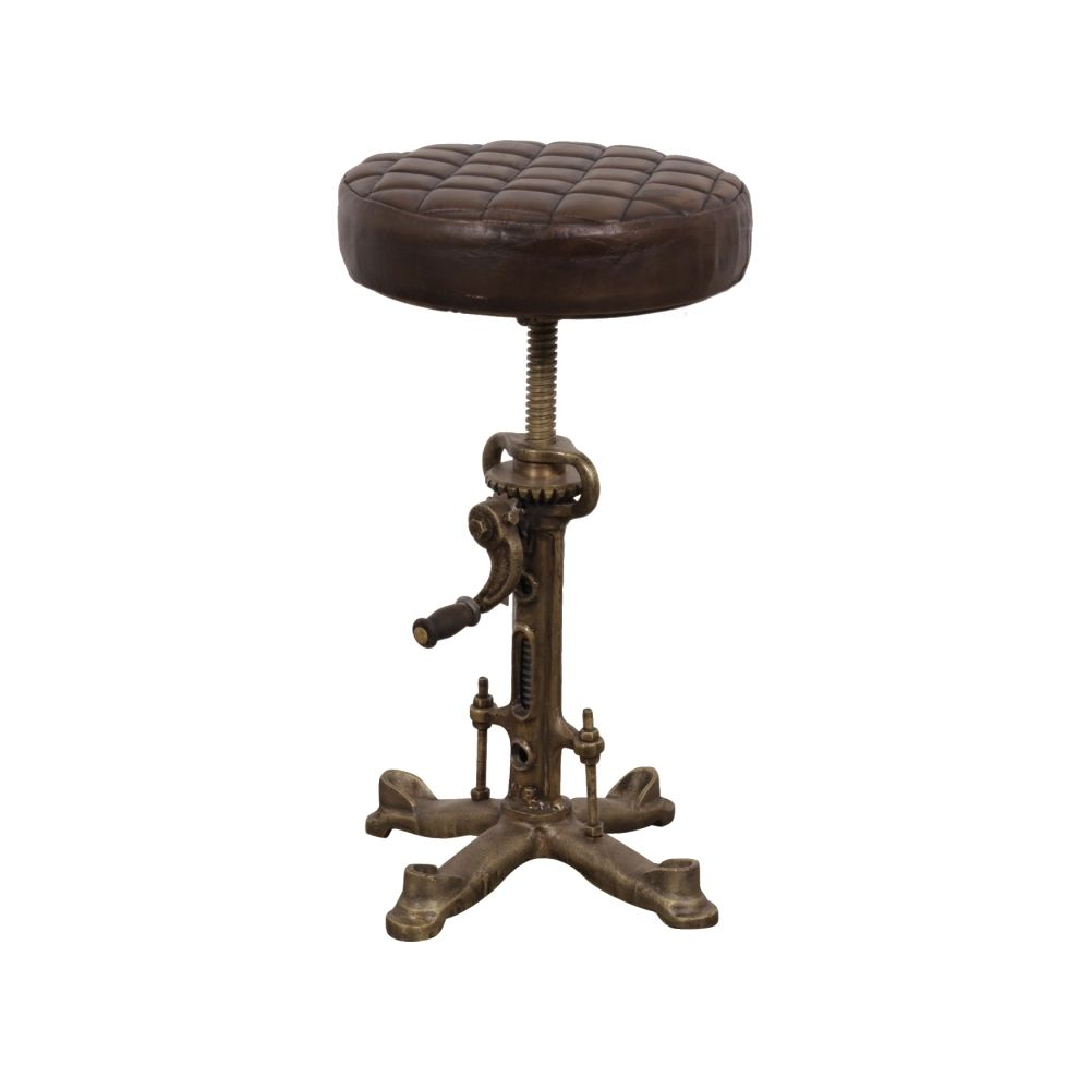 Industrial Leather Bar Stool Swivel Wind Up Adjustable