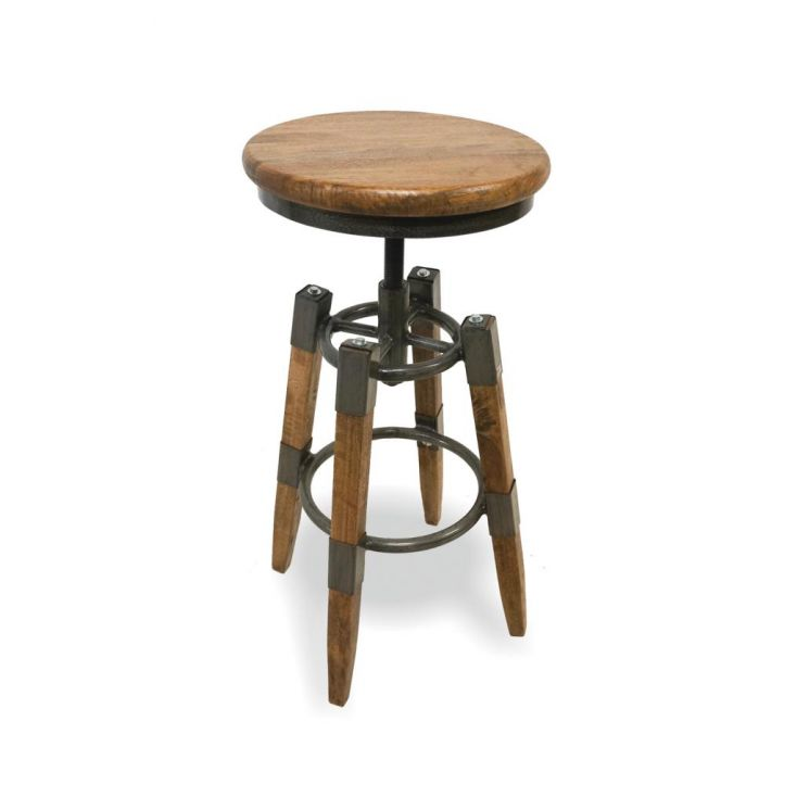industrial swivel stool with wood seat
