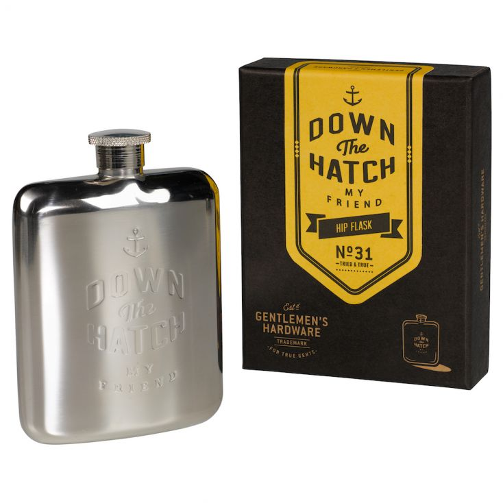 Down The Hatch hip flask