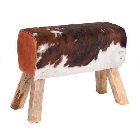 Cowhide And Leather Pommel Bench Vintage Furniture Smithers of Stamford £225.00 Store UK, US, EU, AE,BE,CA,DK,FR,DE,IE,IT,MT,...