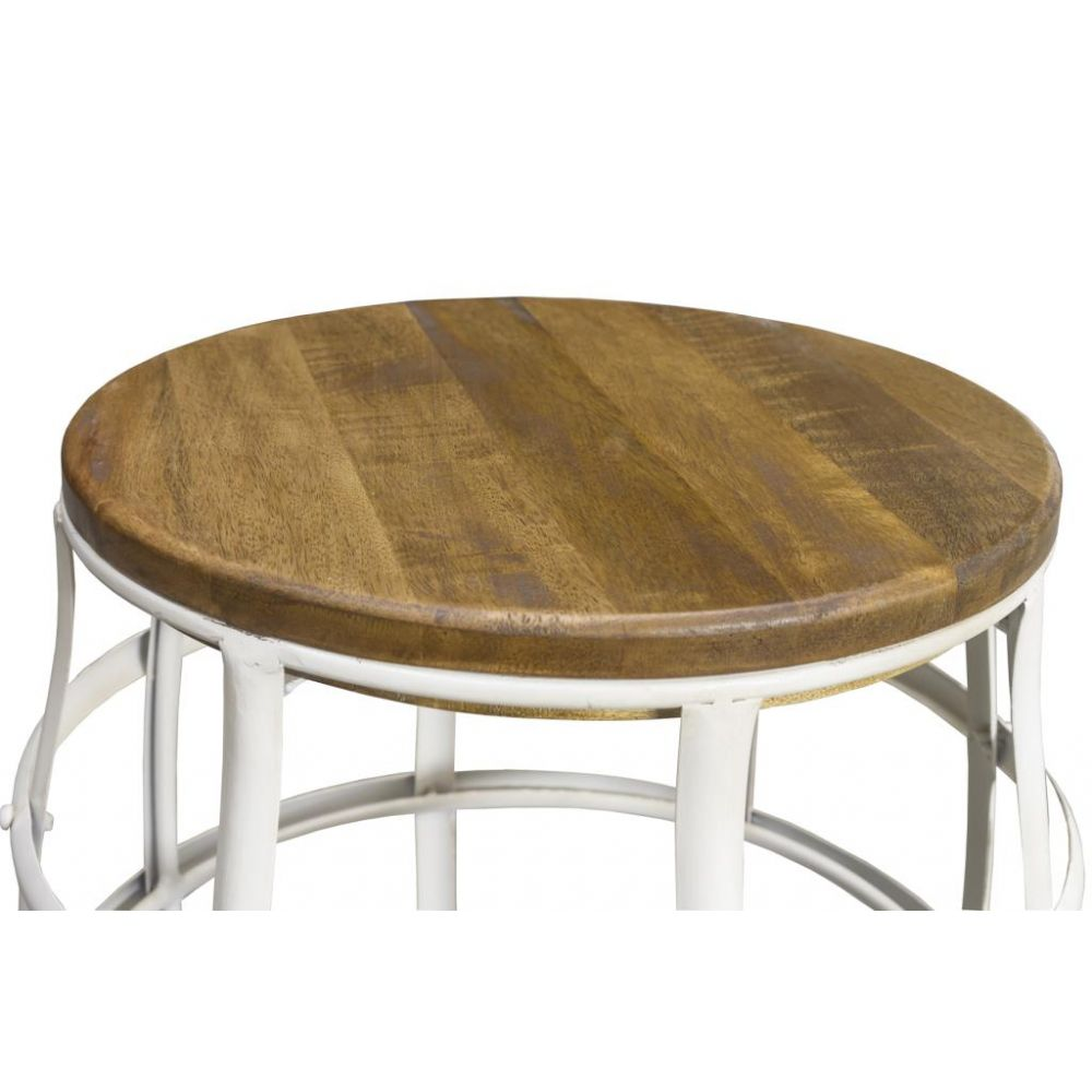 White Industrial Barrel Shaped Stool Or Side Table