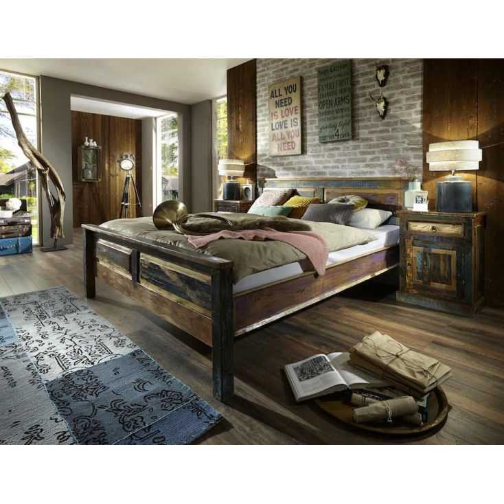 Reclaimed Wooden Super King Bed Recycled Wood Rustic