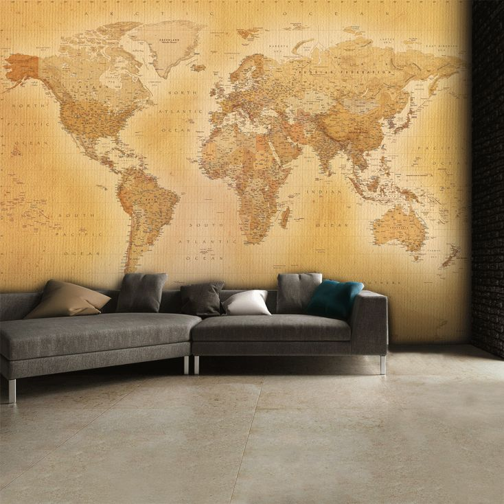Old Style Vintage World Map Wallpaper Office Ideas