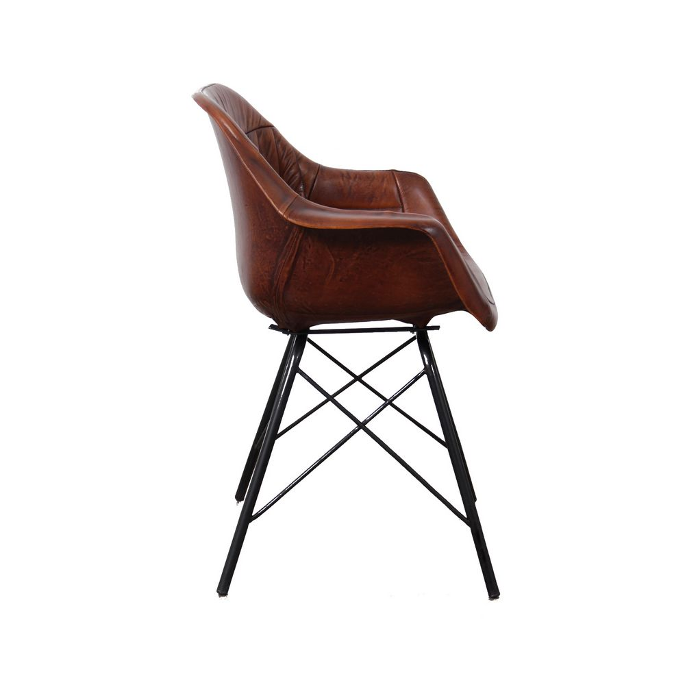 Leather Metal Dining Chair Industrial Leather Dining Chair