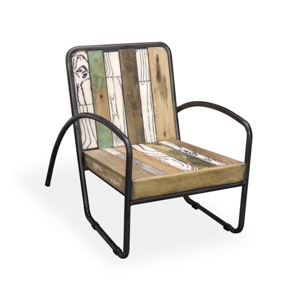 Reclaimed Armchair: Reclaimed Wood Armchair With Industrial D Arm