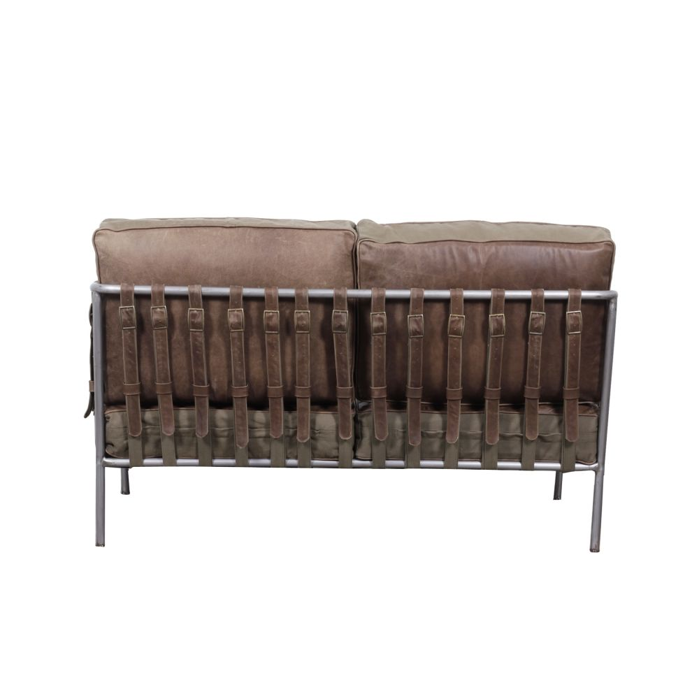 Buckle Up Brown Leather Distressed Sofa And Armchair