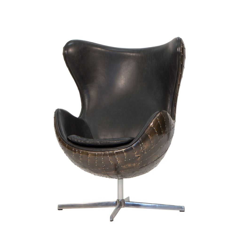 Retro Aviator Egg Chair Vintage Retro Brown Leather Egg Armchair