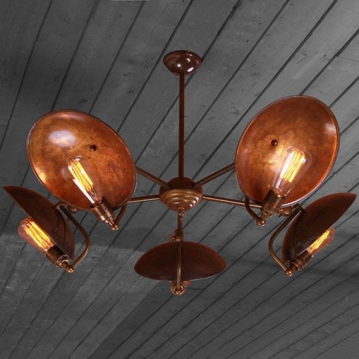 Bugsy Antiqued Industrial  Chandelier