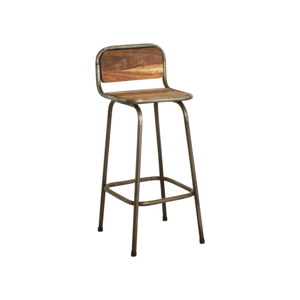Industrial Modern Wood And Metal Bar Stools With Backs