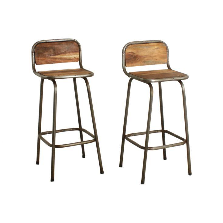 wood and metal bar stools with backs
