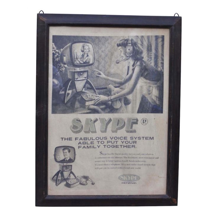 Skype Wall Vintage Poster Frame Vintage Wall Art Smithers of Stamford £ 69.99 Store UK, US, EU, AE,BE,CA,DK,FR,DE,IE,IT,MT,NL...