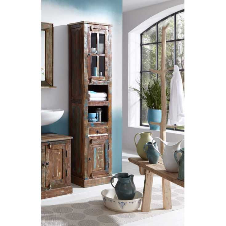 Reclaimed Wood Tall Bathroom Cabinet, Bathroom Tall Cabinets