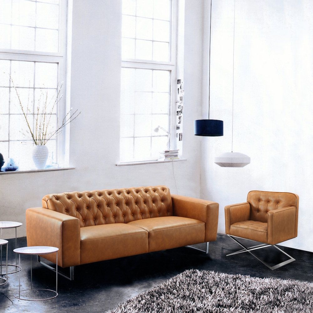 Dijon Leather Brown Sofa