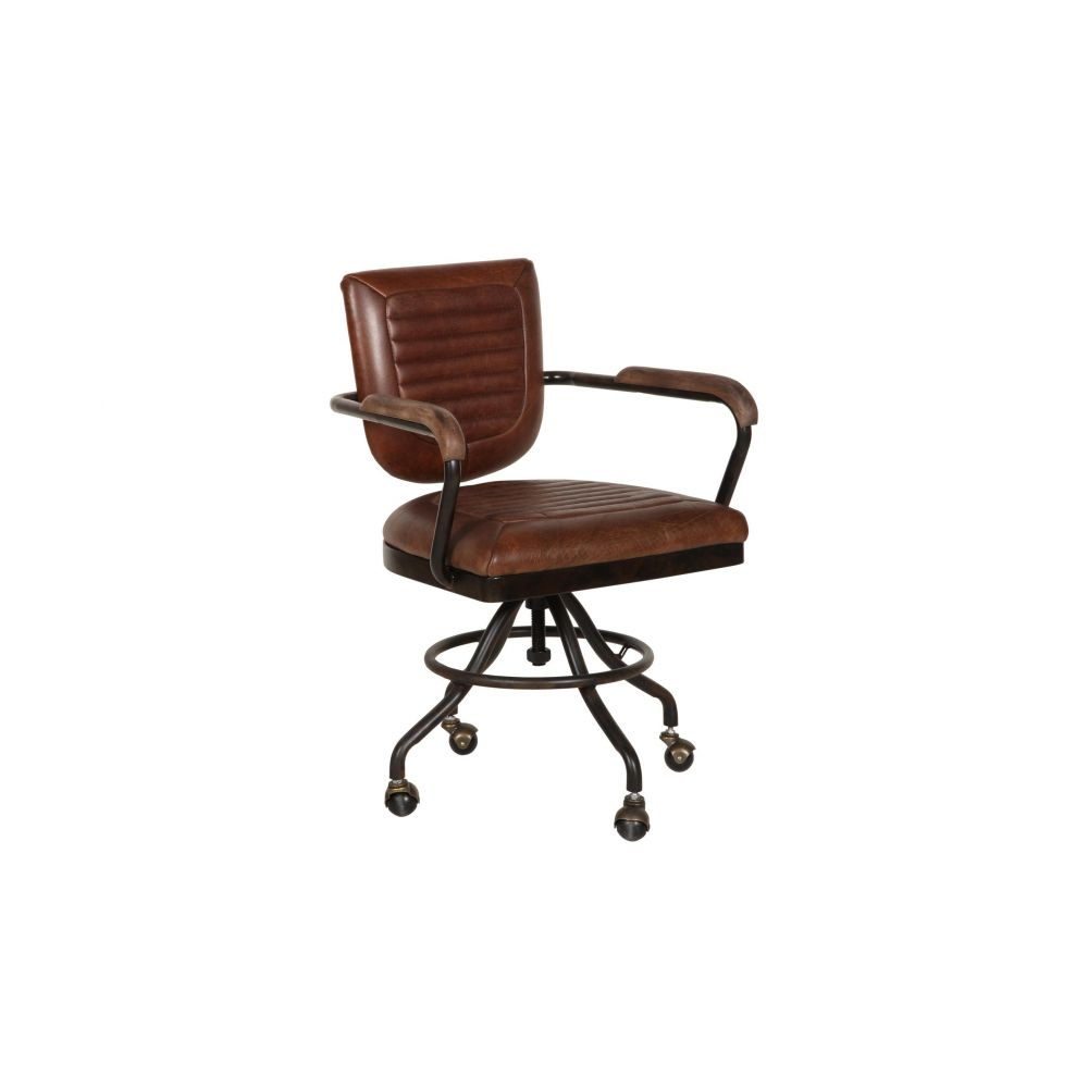 aviation aviator industrial tan leather office chair. Black Bedroom Furniture Sets. Home Design Ideas