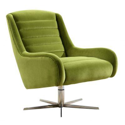 Vanhoose Swivel Green Velvet Armchair