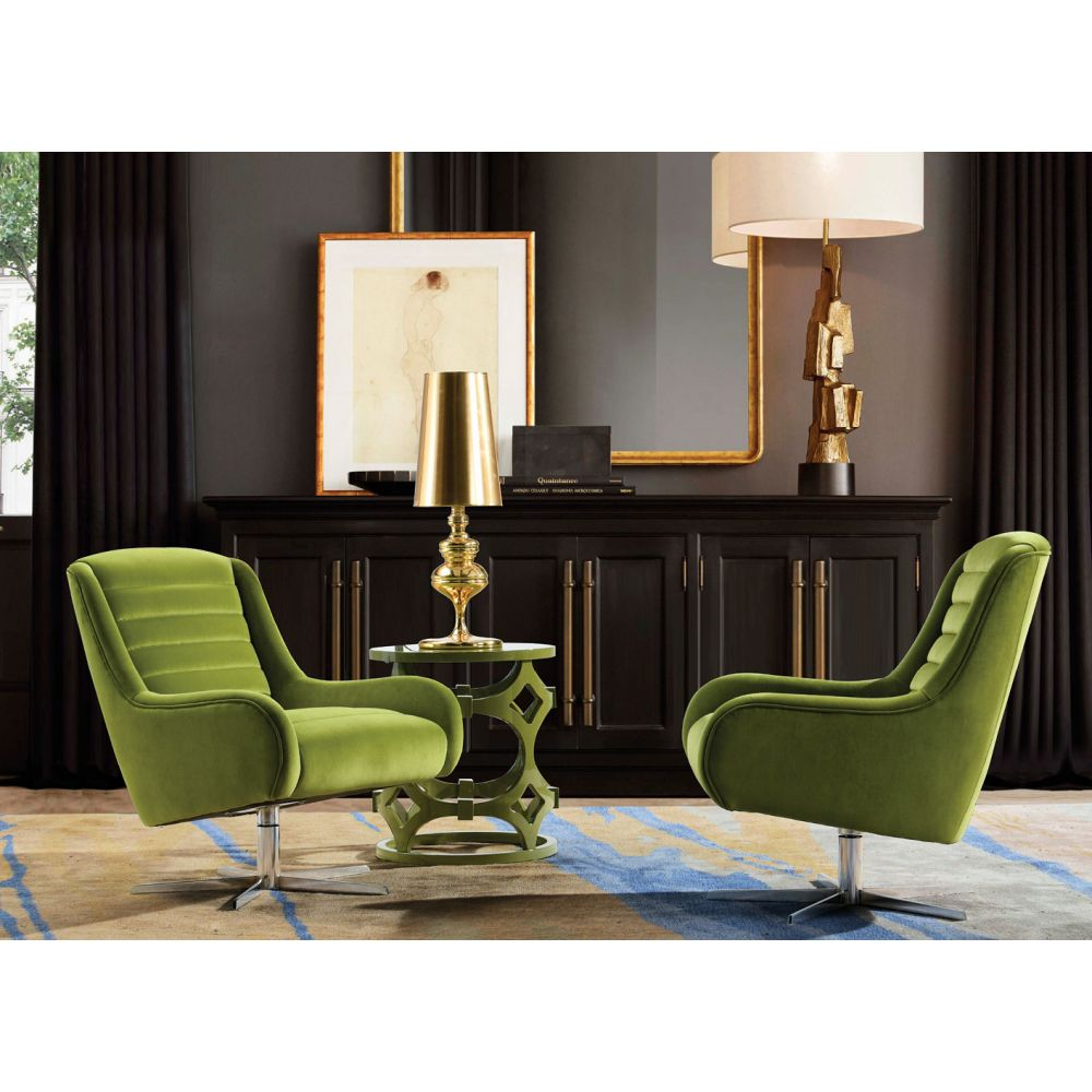 Green Velvet Armchair | Vanhoose Swivel Armchair