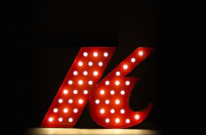 red-k-letter-light