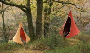 tents hanging from a tree